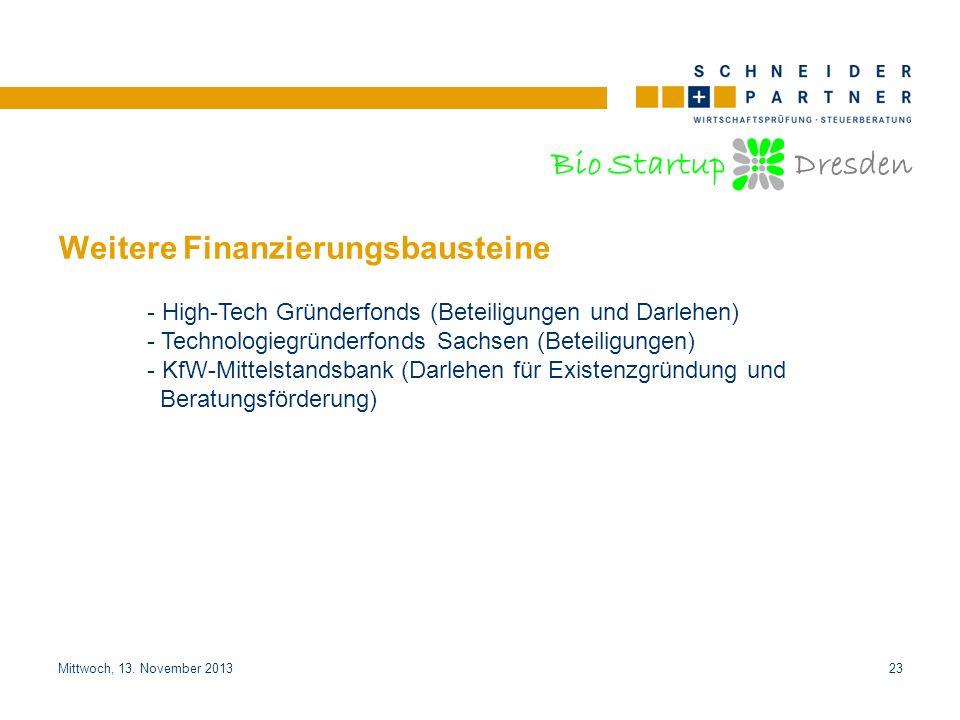 Bio Startup Dresden Titel der PräsentationTitel der Präsentation Mittwoch, 13. November 201323 Weitere Finanzierungsbausteine - High-Tech Gründerfonds