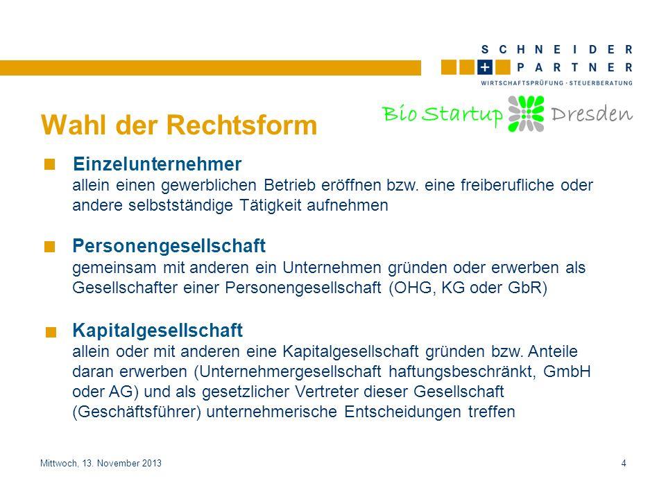 Bio Startup Dresden Titel der PräsentationTitel der Präsentation Mittwoch, 13. November 20134 Wahl der Rechtsform Einzelunternehmer allein einen gewer