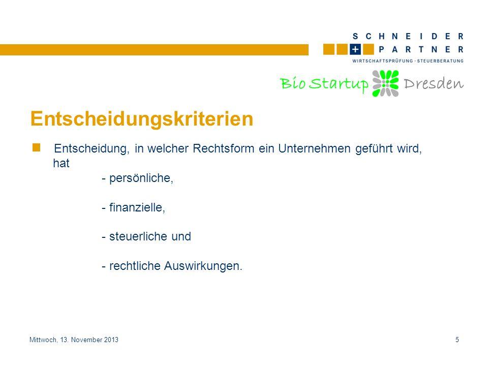 Bio Startup Dresden Titel der PräsentationTitel der Präsentation Mittwoch, 13. November 20135 Entscheidungskriterien Entscheidung, in welcher Rechtsfo