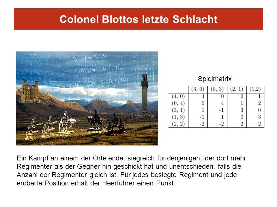 Colonel Blottos letzte Schlacht Ein Kampf an einem der Orte endet siegreich für denjenigen, der dort mehr Regimenter als der Gegner hin geschickt hat