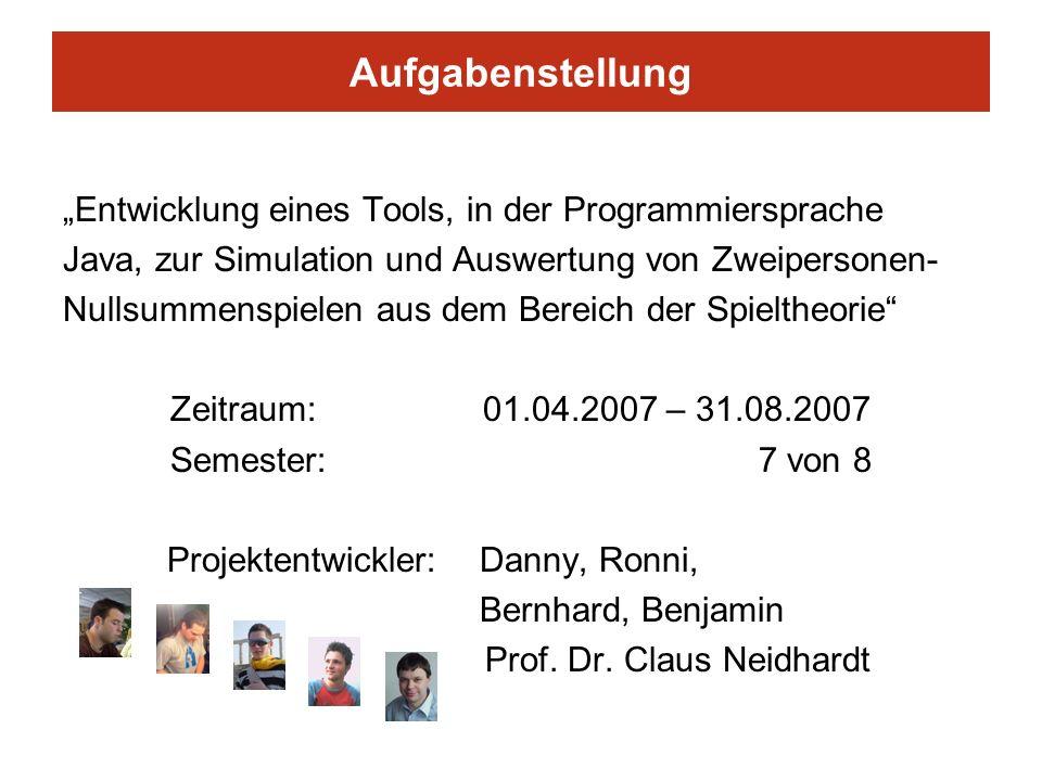 Aufgabenstellung Entwicklung eines Tools, in der Programmiersprache Java, zur Simulation und Auswertung von Zweipersonen- Nullsummenspielen aus dem Be