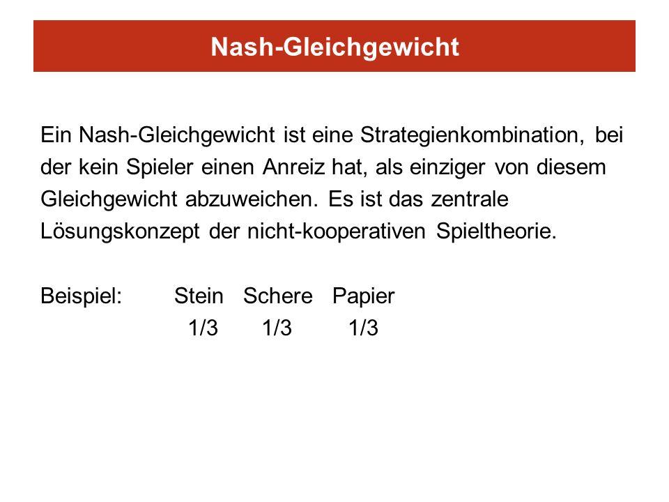 Nash-Gleichgewicht Ein Nash-Gleichgewicht ist eine Strategienkombination, bei der kein Spieler einen Anreiz hat, als einziger von diesem Gleichgewicht