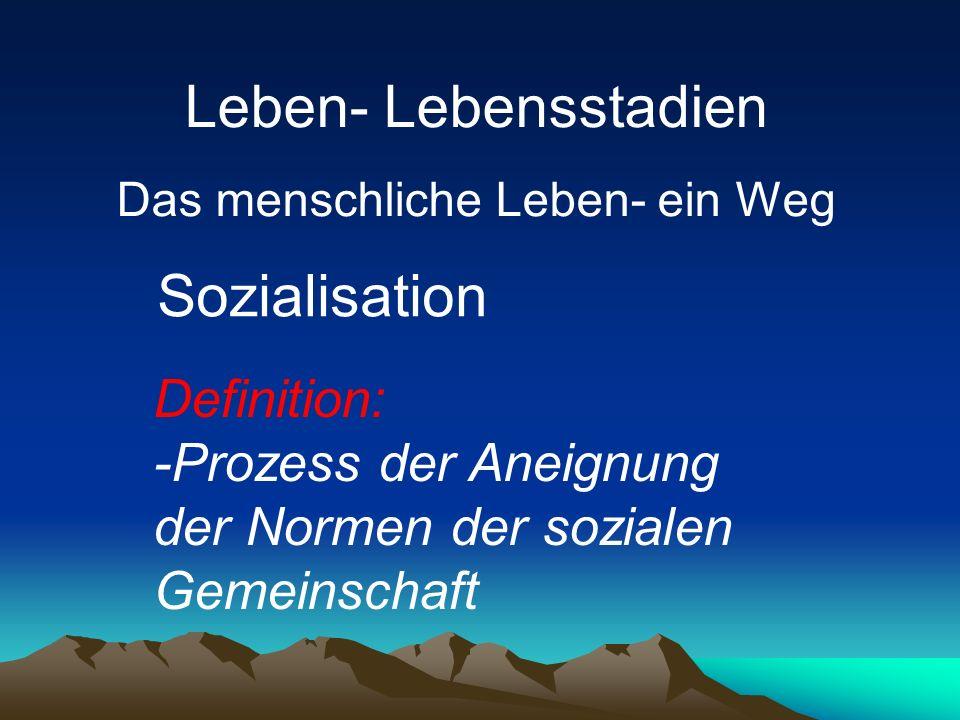 Definition: -Prozess der Aneignung der Normen der sozialen Gemeinschaft Sozialisation Leben- Lebensstadien Das menschliche Leben- ein Weg