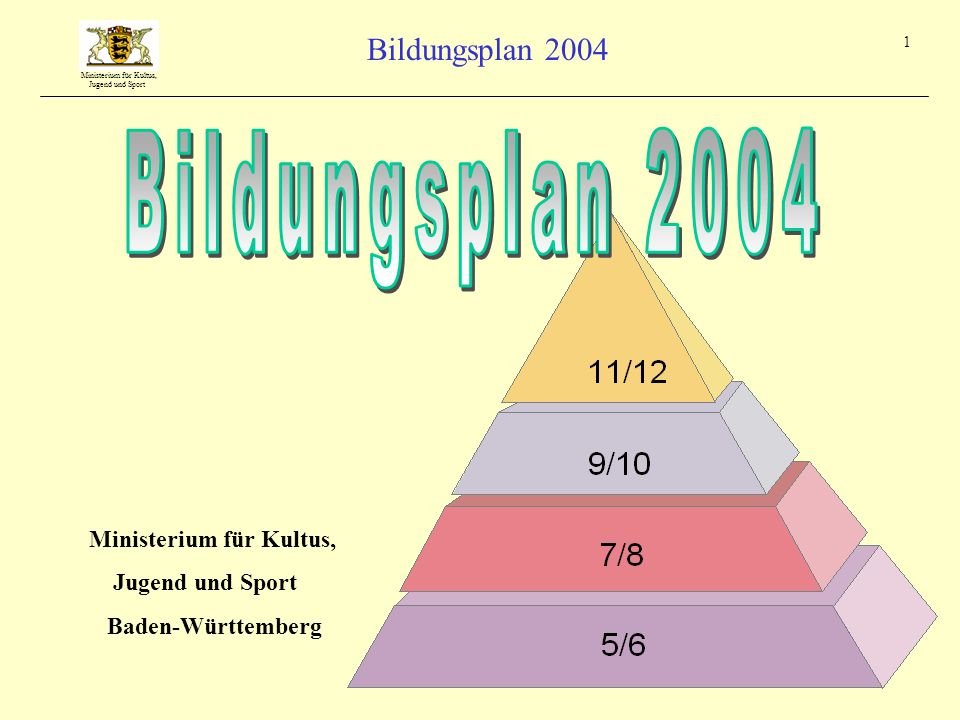 Ministerium für Kultus, Jugend und Sport Bildungsplan 2004 1 Ministerium für Kultus, Jugend und Sport Baden-Württemberg