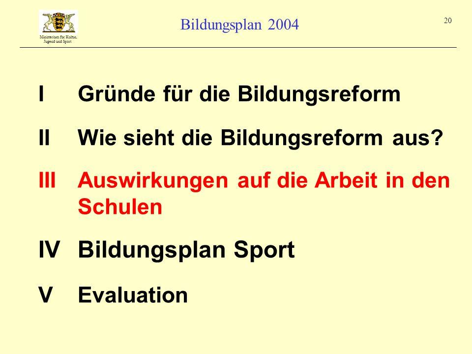 Ministerium für Kultus, Jugend und Sport Bildungsplan 2004 20 IGründe für die Bildungsreform IIIAuswirkungen auf die Arbeit in den Schulen IIWie sieht