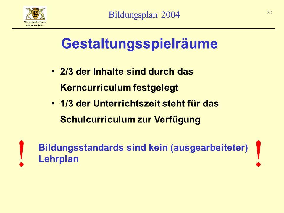 Ministerium für Kultus, Jugend und Sport Bildungsplan 2004 22 2/3 der Inhalte sind durch das Kerncurriculum festgelegt 1/3 der Unterrichtszeit steht f
