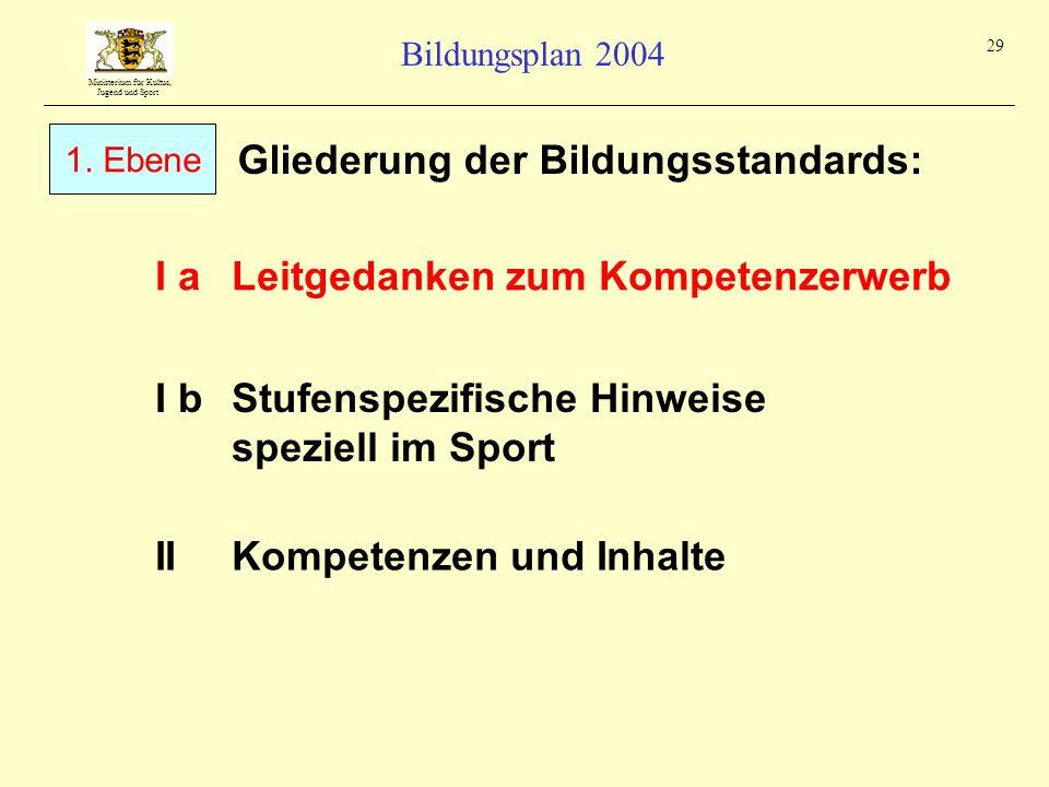 Ministerium für Kultus, Jugend und Sport Bildungsplan 2004 29 Gliederung der Bildungsstandards: I aLeitgedanken zum Kompetenzerwerb IIKompetenzen und