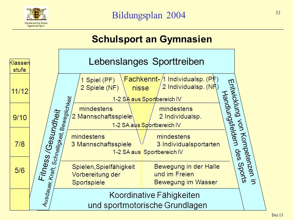 Ministerium für Kultus, Jugend und Sport Bildungsplan 2004 33 Koordinative Fähigkeiten und sportmotorische Grundlagen Entwicklung von Kompetenzen in H