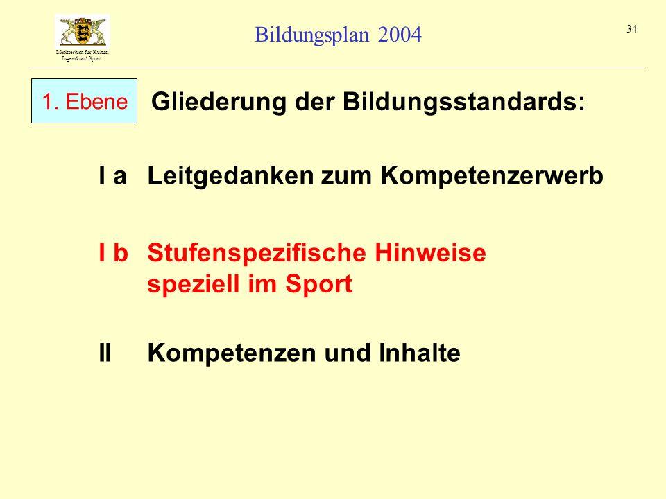 Ministerium für Kultus, Jugend und Sport Bildungsplan 2004 34 Gliederung der Bildungsstandards: I aLeitgedanken zum Kompetenzerwerb IIKompetenzen und