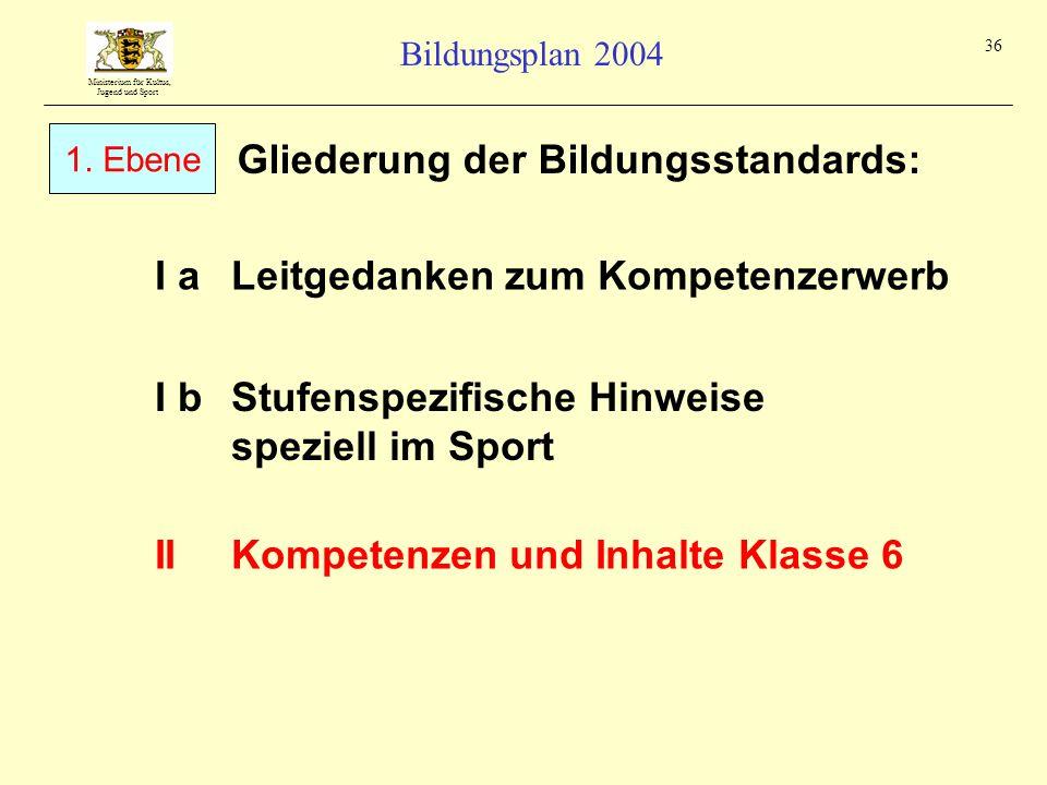 Ministerium für Kultus, Jugend und Sport Bildungsplan 2004 36 Gliederung der Bildungsstandards: I aLeitgedanken zum Kompetenzerwerb IIKompetenzen und
