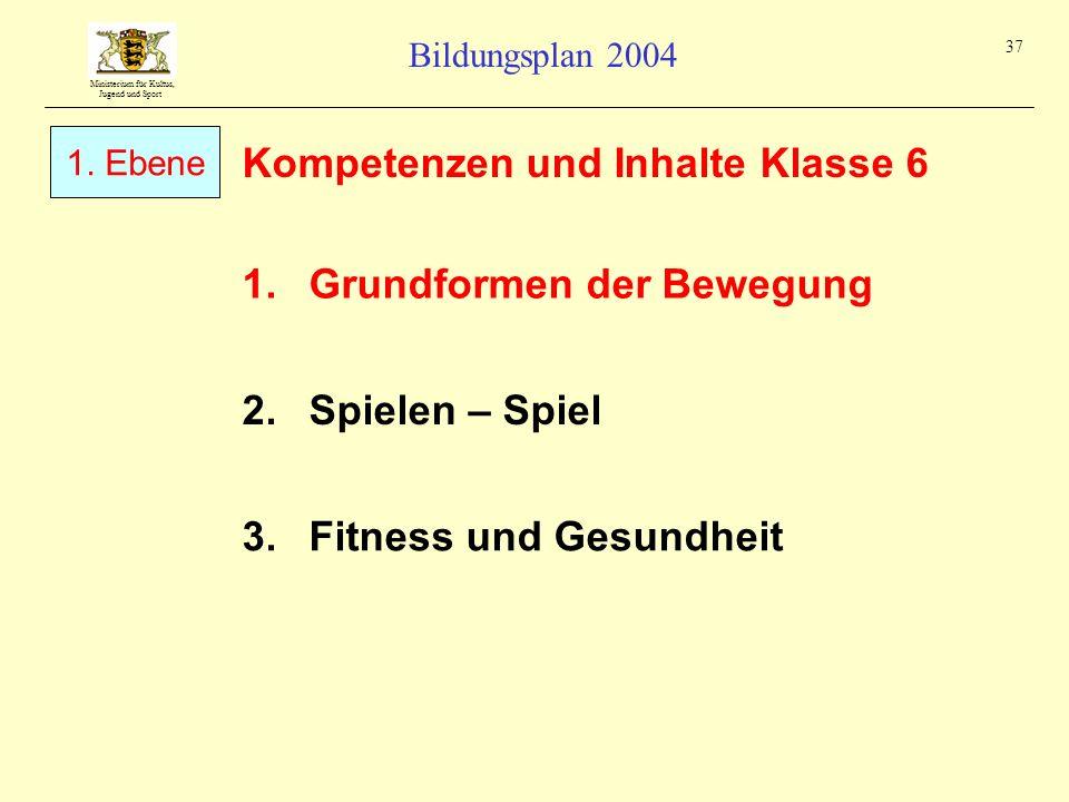 Ministerium für Kultus, Jugend und Sport Bildungsplan 2004 37 Kompetenzen und Inhalte Klasse 6 1.Grundformen der Bewegung 1. Ebene 2.Spielen – Spiel 3