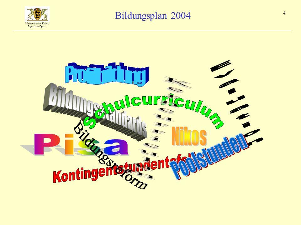 Ministerium für Kultus, Jugend und Sport Bildungsplan 2004 4