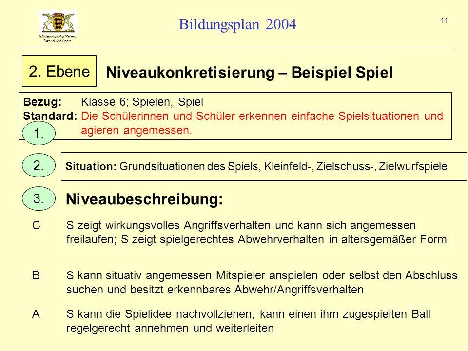 Ministerium für Kultus, Jugend und Sport Bildungsplan 2004 44 Niveaukonkretisierung – Beispiel Spiel Bezug:Klasse 6; Spielen, Spiel Standard:Die Schül