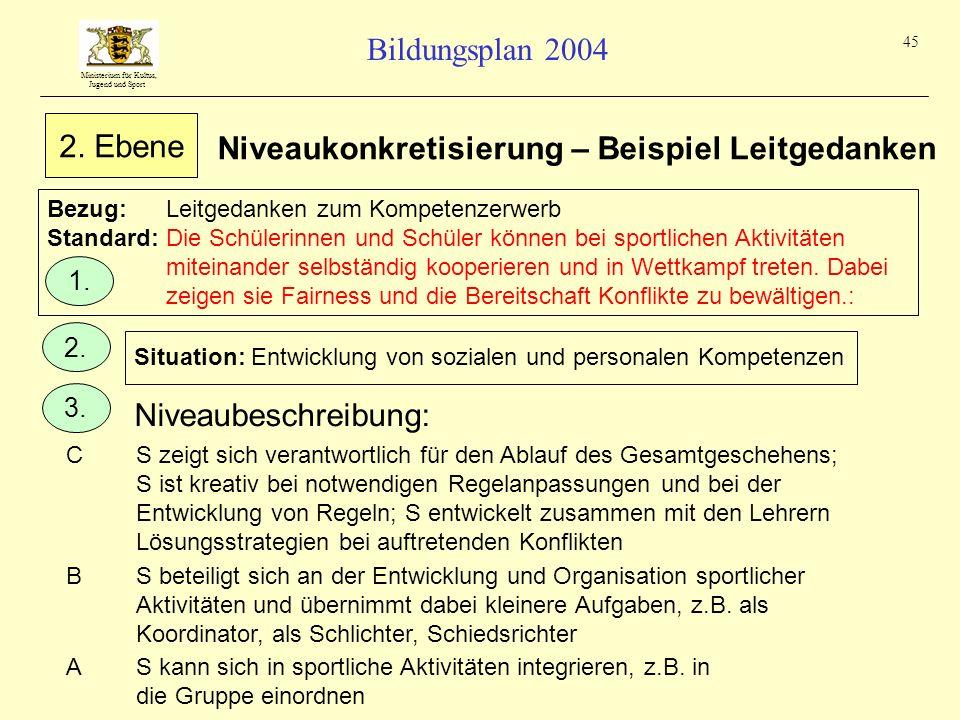 Ministerium für Kultus, Jugend und Sport Bildungsplan 2004 45 Bezug:Leitgedanken zum Kompetenzerwerb Standard:Die Schülerinnen und Schüler können bei