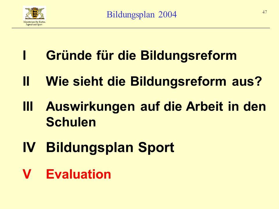 Ministerium für Kultus, Jugend und Sport Bildungsplan 2004 47 IGründe für die Bildungsreform IIIAuswirkungen auf die Arbeit in den Schulen IIWie sieht
