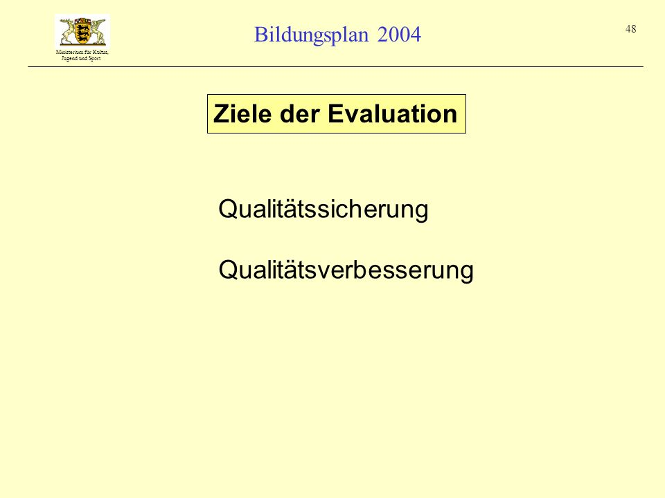 Ministerium für Kultus, Jugend und Sport Bildungsplan 2004 48 Ziele der Evaluation Qualitätssicherung Qualitätsverbesserung
