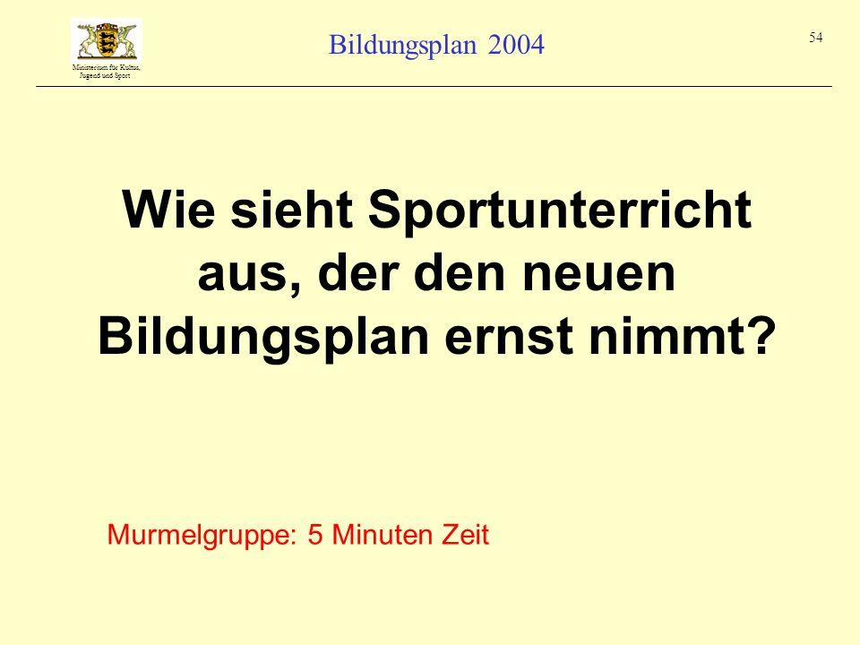 Ministerium für Kultus, Jugend und Sport Bildungsplan 2004 54 Wie sieht Sportunterricht aus, der den neuen Bildungsplan ernst nimmt? Murmelgruppe: 5 M
