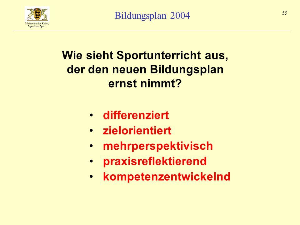 Ministerium für Kultus, Jugend und Sport Bildungsplan 2004 55 Wie sieht Sportunterricht aus, der den neuen Bildungsplan ernst nimmt? differenziert meh
