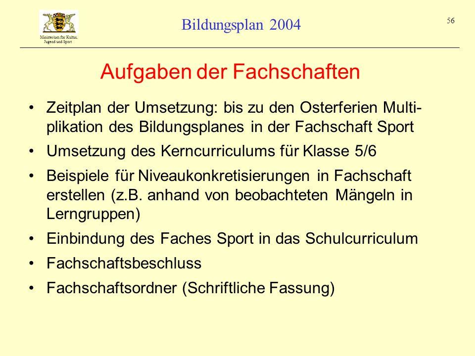 Ministerium für Kultus, Jugend und Sport Bildungsplan 2004 56 Aufgaben der Fachschaften Zeitplan der Umsetzung: bis zu den Osterferien Multi- plikatio