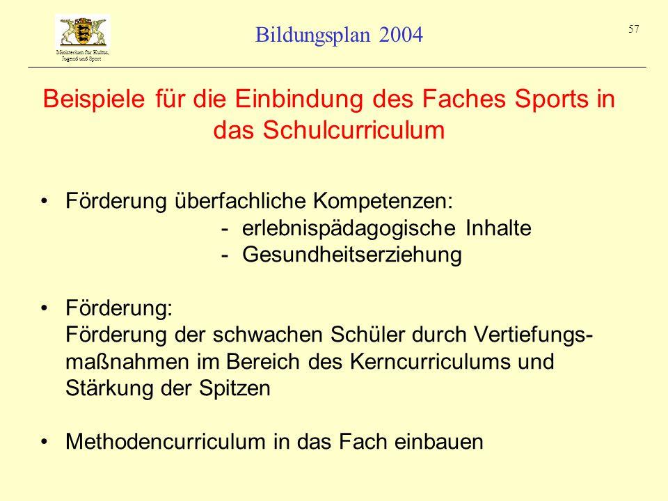Ministerium für Kultus, Jugend und Sport Bildungsplan 2004 57 Beispiele für die Einbindung des Faches Sports in das Schulcurriculum Förderung überfach