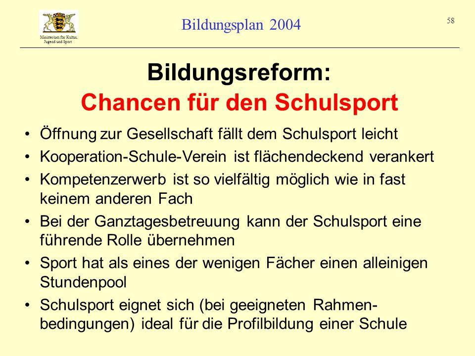 Ministerium für Kultus, Jugend und Sport Bildungsplan 2004 58 Bildungsreform: Chancen für den Schulsport Öffnung zur Gesellschaft fällt dem Schulsport