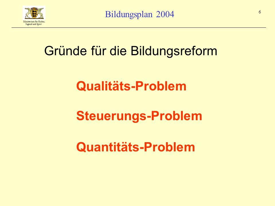 Ministerium für Kultus, Jugend und Sport Bildungsplan 2004 6 Qualitäts-Problem Steuerungs-Problem Quantitäts-Problem Gründe für die Bildungsreform