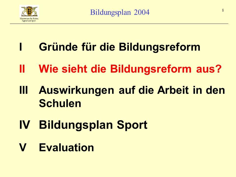 Ministerium für Kultus, Jugend und Sport Bildungsplan 2004 8 IGründe für die Bildungsreform IIIAuswirkungen auf die Arbeit in den Schulen IIWie sieht