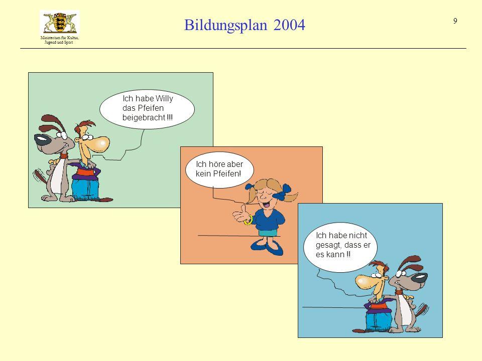 Ministerium für Kultus, Jugend und Sport Bildungsplan 2004 9 Ich habe Willy das Pfeifen beigebracht !!! Ich habe nicht gesagt, dass er es kann !!