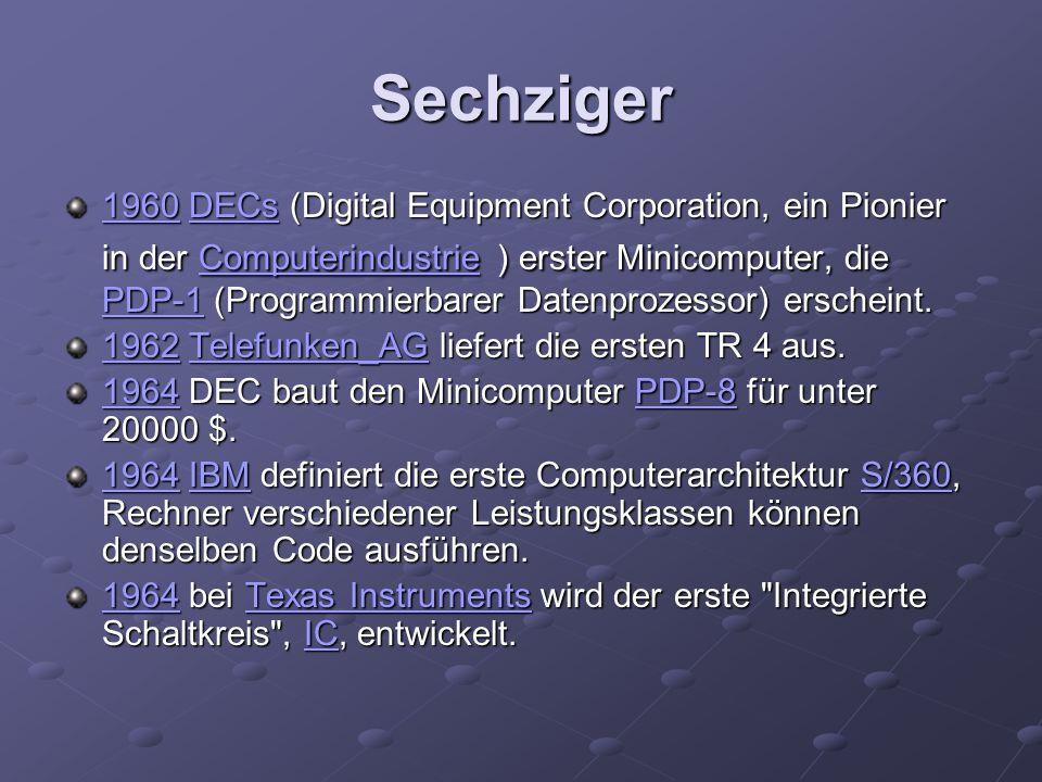 Sechziger 19601960 DECs (Digital Equipment Corporation, ein Pionier in der Computerindustrie ) erster Minicomputer, die PDP-1 (Programmierbarer Datenp