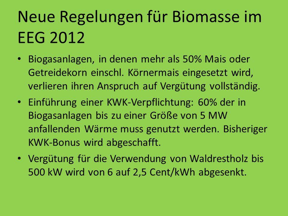 Erhöhung der Grundvergütung, aber: NaWaRo-Bonus und Güllebonus können nicht mehr miteinander kombiniert werden Güllebonus wird nur noch ausgezahlt, wenn auch tatsächlich 80% Gülle eingesetzt werden Neue Regelungen für Biomasse im EEG 2012