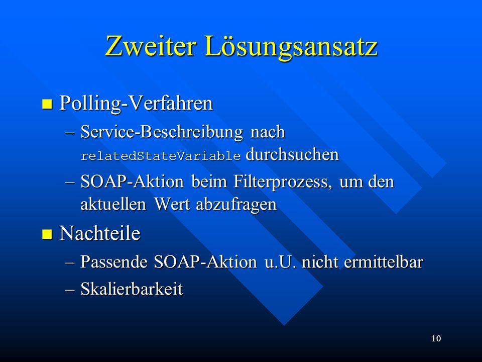 10 Zweiter Lösungsansatz Polling-Verfahren Polling-Verfahren –Service-Beschreibung nach relatedStateVariable durchsuchen –SOAP-Aktion beim Filterproze