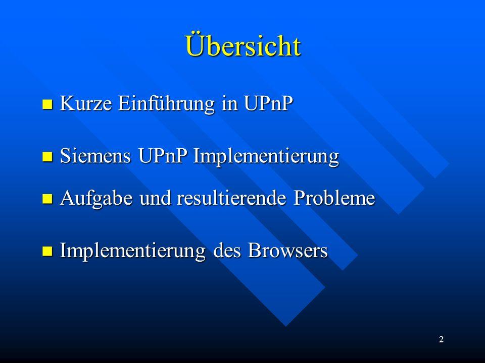 2 Übersicht Kurze Einführung in UPnP Kurze Einführung in UPnP Siemens UPnP Implementierung Siemens UPnP Implementierung Aufgabe und resultierende Prob