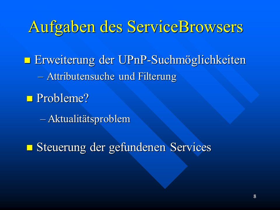 8 Aufgaben des ServiceBrowsers Erweiterung der UPnP-Suchmöglichkeiten Erweiterung der UPnP-Suchmöglichkeiten –Attributensuche und Filterung Probleme?