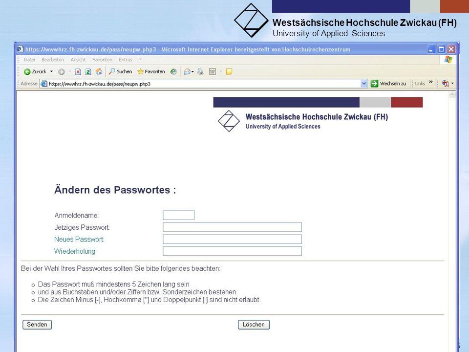 Westsächsische Hochschule Zwickau (FH) University of Applied Sciences ZKI - Inforveranstaltung Wintersemester 2006 Verzeichnis Y:\Lehre