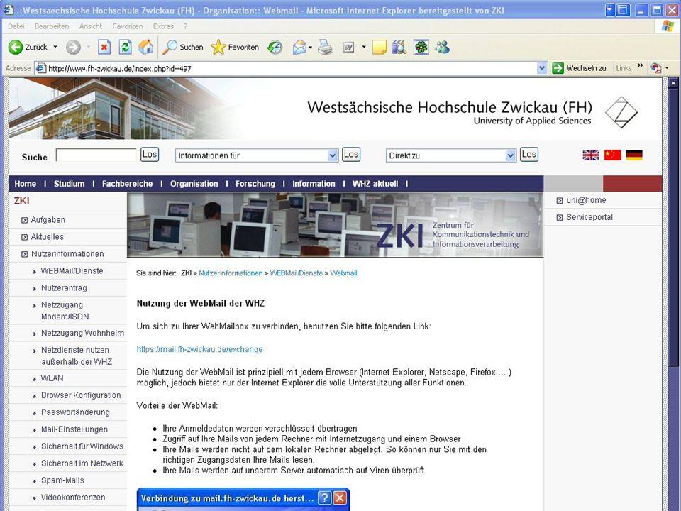 Westsächsische Hochschule Zwickau (FH) University of Applied Sciences ZKI - Inforveranstaltung Wintersemester 2006 Passwort ändern: