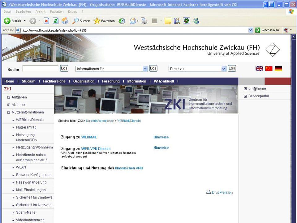 Westsächsische Hochschule Zwickau (FH) University of Applied Sciences ZKI - Inforveranstaltung Wintersemester 2006 Mail an der WHZ In allen Pools: Mai