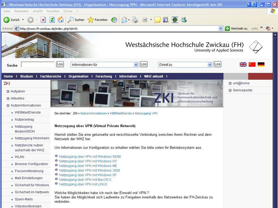 Westsächsische Hochschule Zwickau (FH) University of Applied Sciences ZKI - Inforveranstaltung Wintersemester 2006