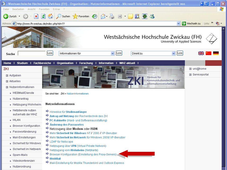 Westsächsische Hochschule Zwickau (FH) University of Applied Sciences ZKI - Inforveranstaltung Wintersemester 2006 WLAN an der Hochschule: http://www.