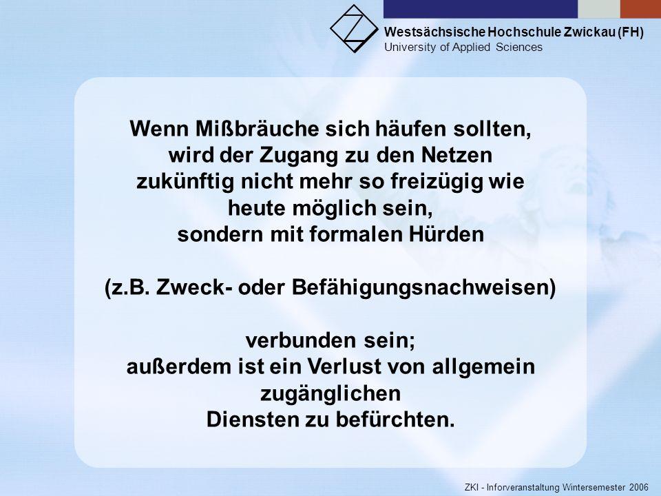 Westsächsische Hochschule Zwickau (FH) University of Applied Sciences ZKI - Inforveranstaltung Wintersemester 2006 # Request-Peak by 2ndlevel-domain R