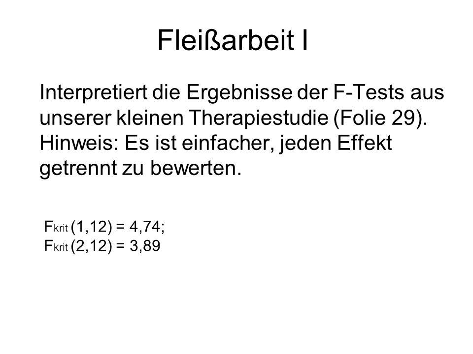 Fleißarbeit I Interpretiert die Ergebnisse der F-Tests aus unserer kleinen Therapiestudie (Folie 29). Hinweis: Es ist einfacher, jeden Effekt getrennt