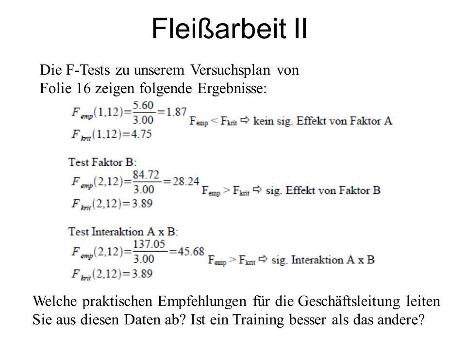 Fleißarbeit II Die F-Tests zu unserem Versuchsplan von Folie 16 zeigen folgende Ergebnisse: Welche praktischen Empfehlungen für die Geschäftsleitung l