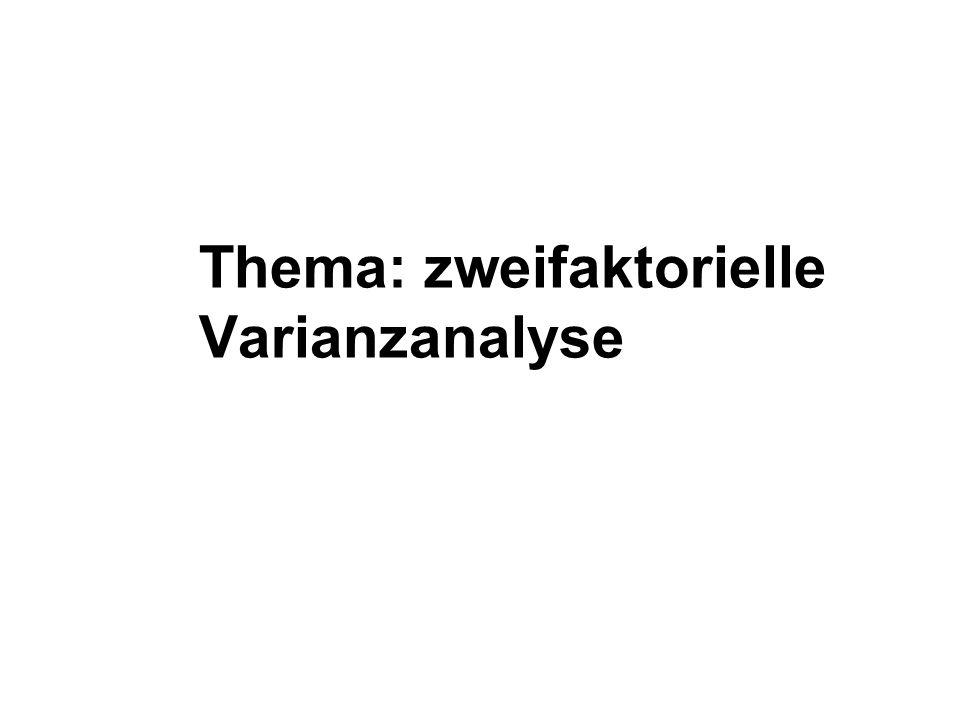 Thema: zweifaktorielle Varianzanalyse