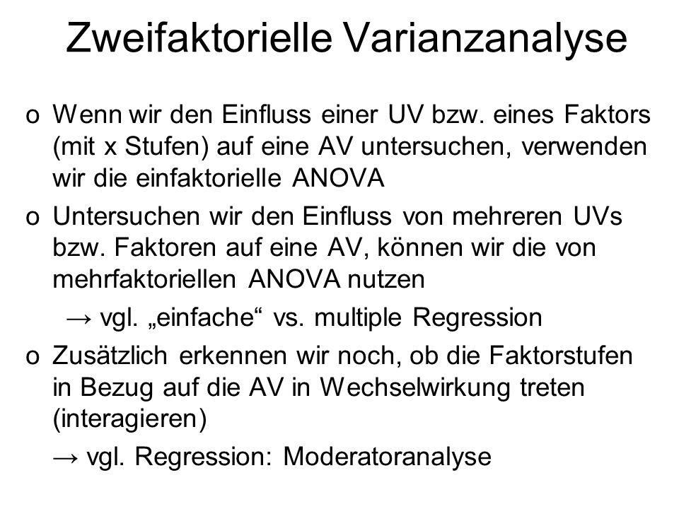 Zweifaktorielle Varianzanalyse oWenn wir den Einfluss einer UV bzw. eines Faktors (mit x Stufen) auf eine AV untersuchen, verwenden wir die einfaktori