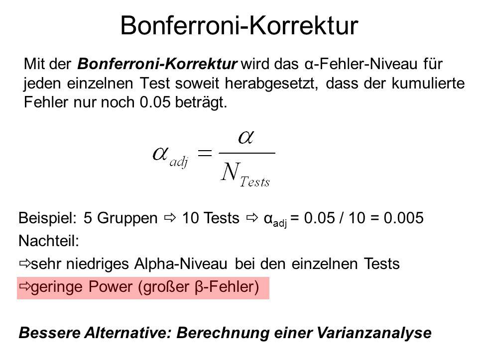 Bonferroni-Korrektur Mit der Bonferroni-Korrektur wird das α-Fehler-Niveau für jeden einzelnen Test soweit herabgesetzt, dass der kumulierte Fehler nu