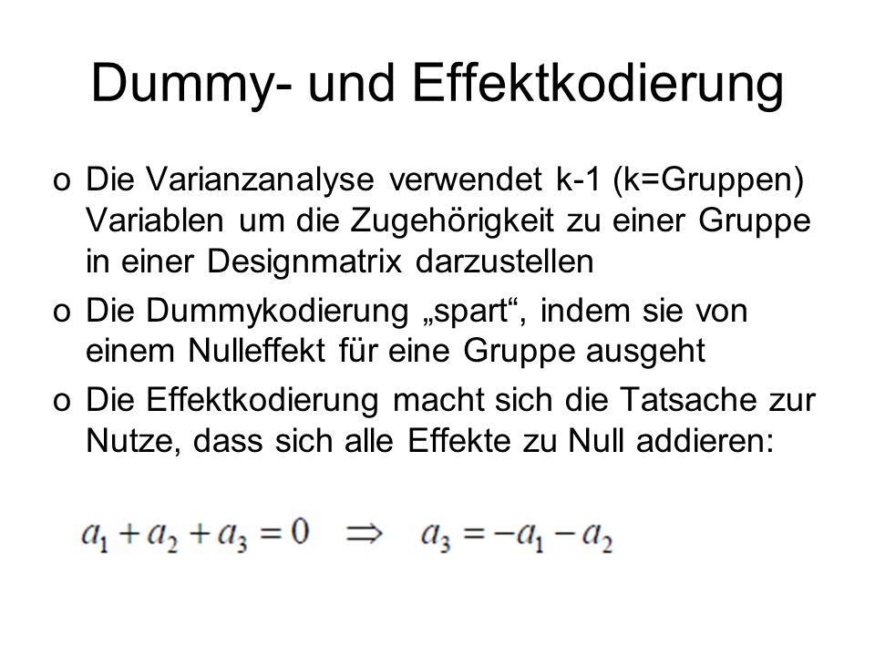 Dummy- und Effektkodierung oDie Varianzanalyse verwendet k-1 (k=Gruppen) Variablen um die Zugehörigkeit zu einer Gruppe in einer Designmatrix darzuste