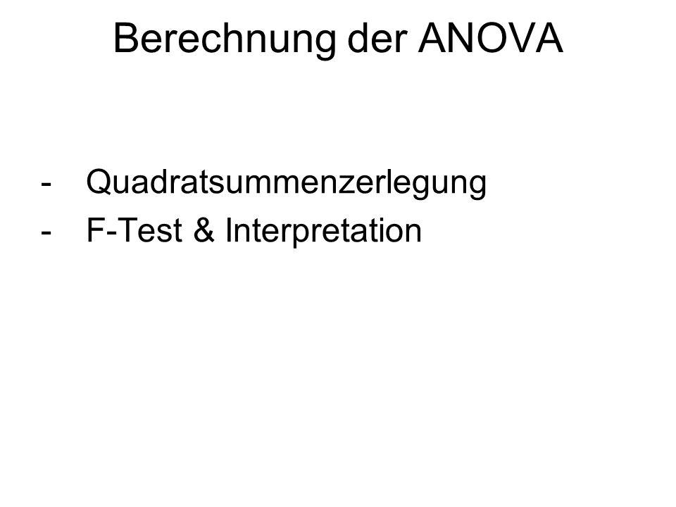 Berechnung der ANOVA -Quadratsummenzerlegung -F-Test & Interpretation