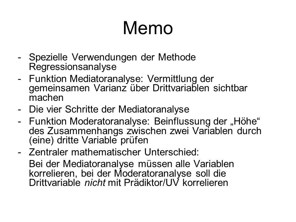 Memo -Spezielle Verwendungen der Methode Regressionsanalyse -Funktion Mediatoranalyse: Vermittlung der gemeinsamen Varianz über Drittvariablen sichtba