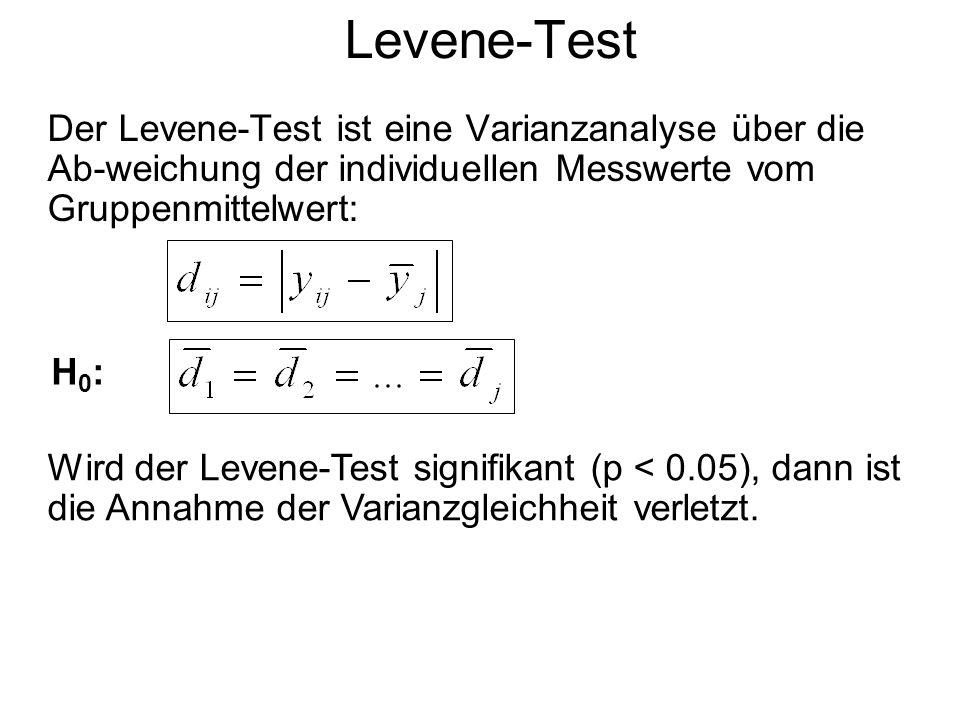 Levene-Test Der Levene-Test ist eine Varianzanalyse über die Ab-weichung der individuellen Messwerte vom Gruppenmittelwert: H0:H0: Wird der Levene-Tes