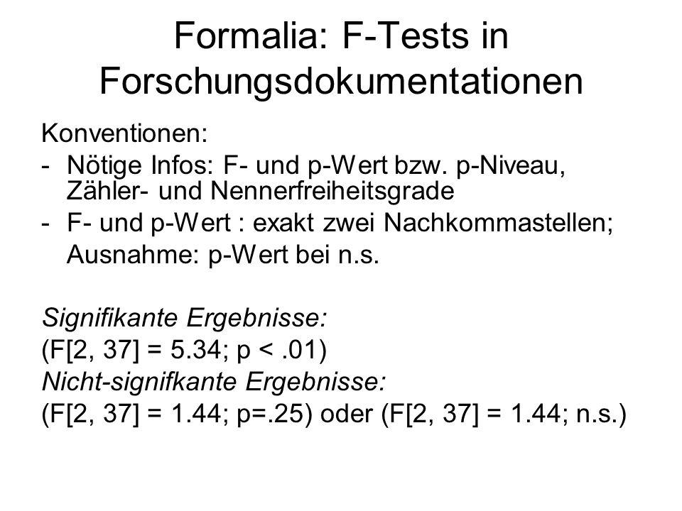Formalia: F-Tests in Forschungsdokumentationen Konventionen: -Nötige Infos: F- und p-Wert bzw. p-Niveau, Zähler- und Nennerfreiheitsgrade -F- und p-We