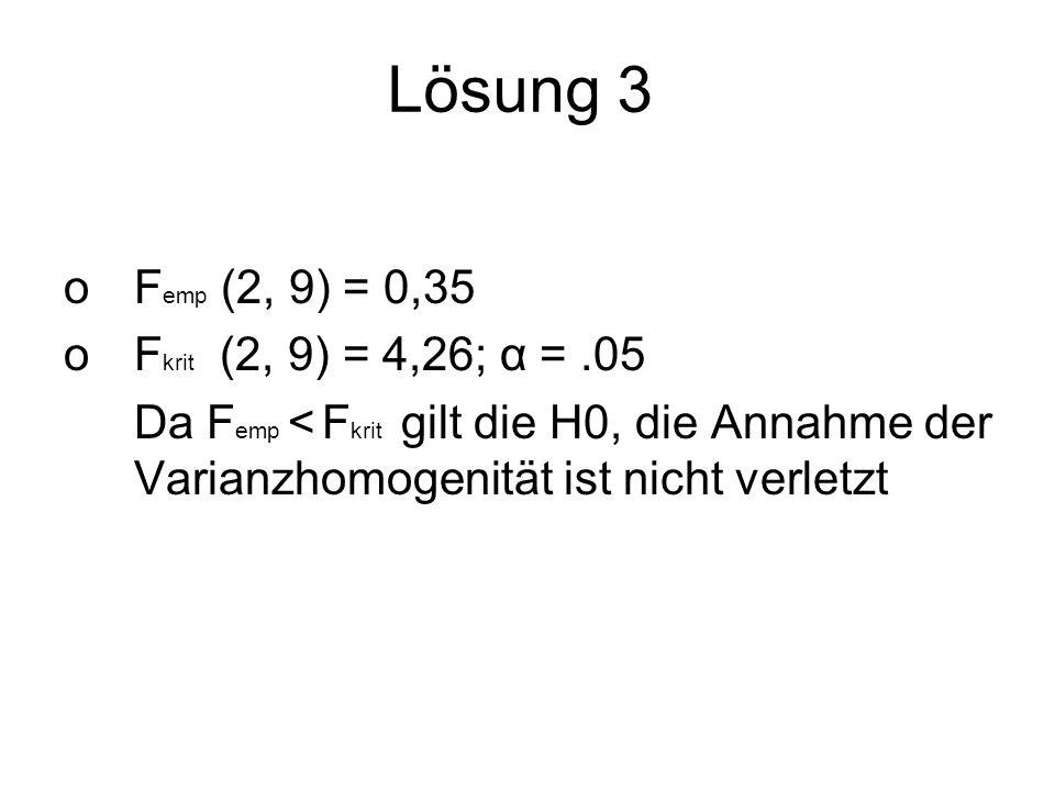 Lösung 3 oF emp (2, 9) = 0,35 oF krit (2, 9) = 4,26; α =.05 Da F emp < F krit gilt die H0, die Annahme der Varianzhomogenität ist nicht verletzt